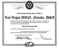 Las Vegas WON Rotary Club Charter letter from RI President